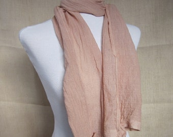 Hand Dyed Birch Fawn Cotton Rosette Scarf