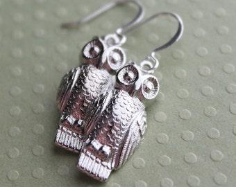Owl Earrings - Silver or Brass
