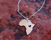 Custom Sterling Silver Africa Pendant Necklace with Heart Cutout
