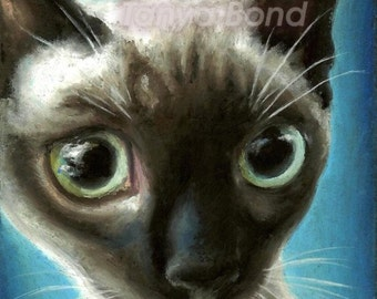 The eyes have it... -  5x7 PRINT of an original oil pastel painting gorgeous Siamese cat by Tanya Bond