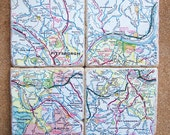 Pittsburgh, PA Map Coasters