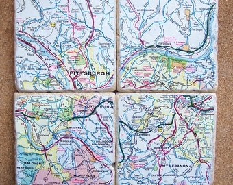 Pittsburgh, PA Map Coasters