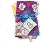 Baby Burp Cloths Lavender Dahlia and Gold Honeycomb Soft Cotton Terry Cloth for Feeding Time Baby Girl Gift