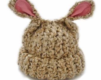 Knit Baby Hat Beige Lamb Ears Newborn to Infant Size Baby Shower Gift Photography Prop