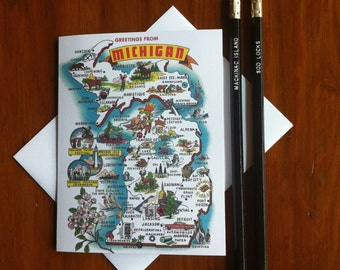 Greetings From Michigan 1960's Card -Blank Inside