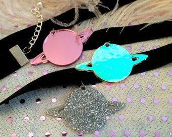 Totally Rad Planet Chokers in Pink, Silver Glitter, or Radiant