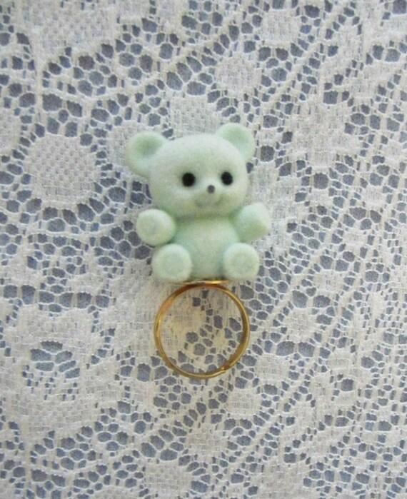 Flocked Mint Green Teddy Bear Ring