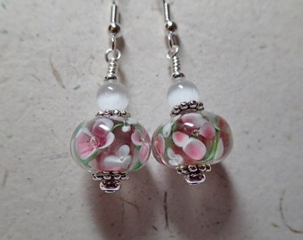 Pink and  White Floral Glass Earrings on silver