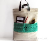 Linen tote knit bag jade green large purse leather handles cotton knit pocket memake handmade handbag fashion