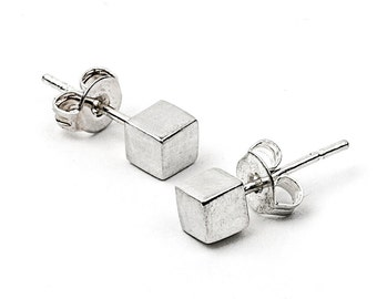 Silver Cube Studs - Geometric Post Earrings in Sterling Silver