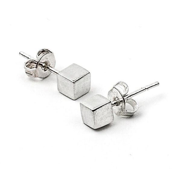 Silver Cube Studs - Geometric Post Earrings in Sterling Silver