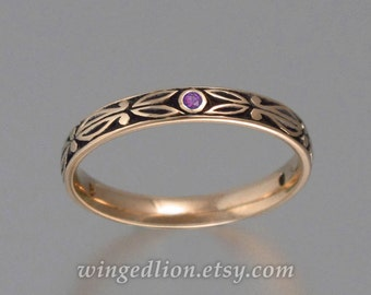 AUGUSTIN 14K rose gold wedding band with Amethyst accents