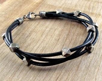 Chunky Leather & Silver Bracelet for Men