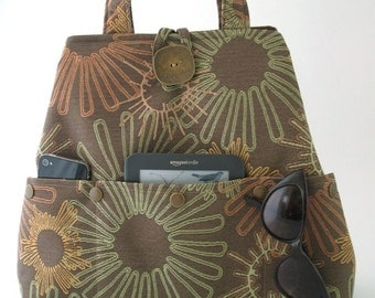 brown tote bag, womens handbag, brown shoulder bag, fabric hobo bag, everyday purse, diaper bag ,laptop bag