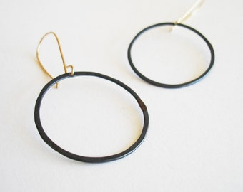 Large Black and Gold Circle Earrings - Oxidized Recycled Silver with 14K Goldfill FREE SHIPPING