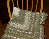 "Frosty Green Crochet Lap Throw/Baby Blanket, Approx. 36"" Square"