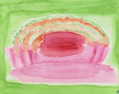 MELON VIBES Abstract Original watercolor painting