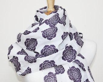SALE Organic Cotton Voile Scarf - Purple Succulents