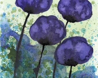 Watercolor Painting: Watercolor Flower Painting -- Art Print --  The Spaces Between Us -- Purple Flowers -- 8x10