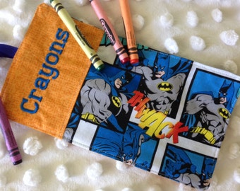Personalized Batman Crayon Wrap Roll Up Holder