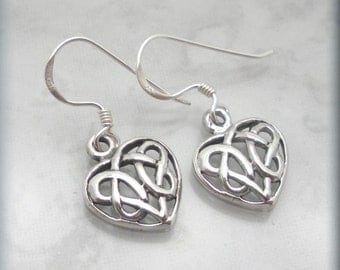 Celtic Heart Earrings Celtic Knot Jewelry Irish Jewelry Sterling Silver Dangle Earrings Valentines Day Love (SE606)