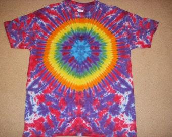 L tie dye t-shirt, blue football design, large
