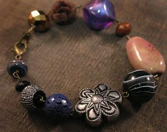 SALE Artistic spirit bracelet multi bead fun and whimsical handmade antique brass bracelet