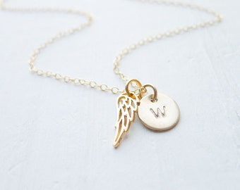 Angel Wing Necklace - Personalized Angelwing Pendant