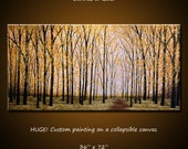 Extra Large Wall Art Modern Painting Contemporary Yellow Aspens Trees ... 36 x 72, 3 ft. x 6 ft.  ... Sunrise of Gold... Free US Ship