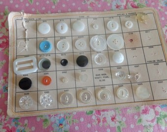 vintage salesman sample buttons card mother of pearl, glass, buckle