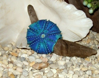 chunky turquoise blue with purple sea urchin focal bead handmade porcelain ceramic & driftwood art pottery sea star bead