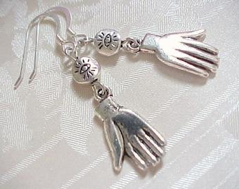 Frida Kahlo Earrings Hand Earrings Maker Sterling Silver Day of the Dead Earrings Evil Eye Earrings Bead Fortune Teller Hand Amulet Earrings