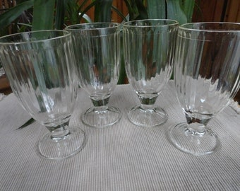 Clear Glass Goblet Style Beverage Glasses by Hazel Atlas from the 1950s
