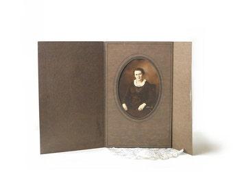 Vintage Photograph Lady Portrait, Sepia Tone, Brown Tri Fold Card Frame, Batavia NY,