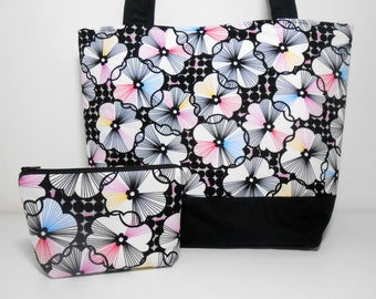 Black and White Large Tote Bag Set Trixie in Black White Pink and Blue Floral