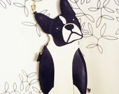 Large Lola the Boston Terrier Dog Cute Vintage Inspired Black Vinyl Side Strap Clutch Purse Bag