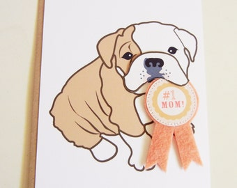 Mother's Day Boris the English Bulldog #1 Mom Pink Felt Ribbon Blank Note Card with Envelope