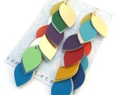 Extra Long Multi Color Leather Cascade Earrings
