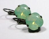 Mint Green Opal Crystal Drop Earrings Classic Sparkling Teal Seafoam Solitaire Swarovski 10mm or 12mm Dark Oxidized Gunmetal Finish Diamond