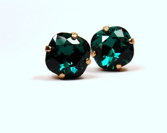 Emerald Green Crystal Stud Earrings Sparkling Kelly RARE Shamrock Solitaire Swarovski 10mm Sterling Post Copper Bright Jade Sage Moss Beryl