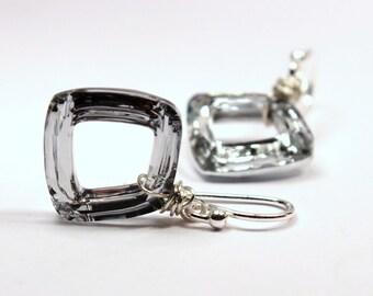 Geometric Crystal Earrings Mirror Metallic Swarovski Sterling Silver Perfect Everyday minimalist Simple Geometric Diamond Dangle Sparkle