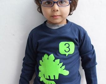 Birthday Dinosaur T shirt, Stegosaurus  T shirt, Kids T shirt ,Birthday T shirt, Number T-shirt, Dino T shirt
