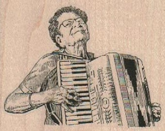 Rubber stamp old woman Lady Playing Accordion cling, unmounted or wood Mounted  scrapbooking supplies number 17909