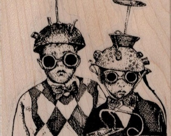 Kids in Futuristic Hats  rubber stamp     whimsical  by Mary Vogel Lozinak  tateam EUC team  19410