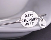 Best Sister Ever Bracelet, Sterling Silver Sister with Infinity Bangle Bracelet, Maid of Honor Jewelry
