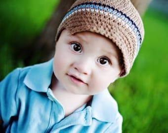 Toddler Hat, Baby Boy Hat, Boy Hat, Boy Newsboy Hat, Baby Newborn Hat, Crochet Baby Hat, Newborn Prop, Beige Off White Blue