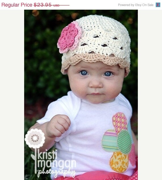 Knit Flower Toddler Hat in Eggshell with Pink Flower - Knit Toddler Hat - Knit Girls Hat