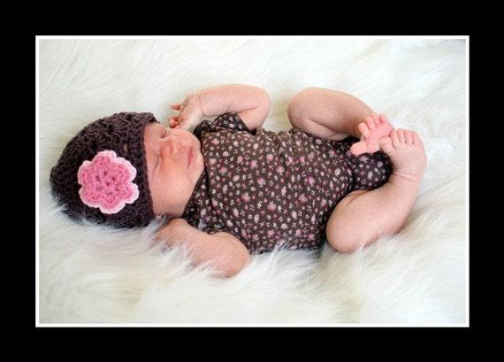 Crochet Baby Hat, Baby Girl Beanie, Baby Girl, Baby Hat, Baby Newborn Hat, Brown Pink Hat, Newborn Beanie, Newborn Prop, Baby Girl Hat