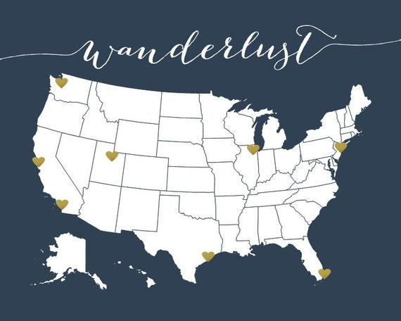 Items Similar To Us Travel Map United States Map Diy