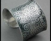 CIRCLES - Handforged Embossed Antiqued Wide Pewter Cuff Bracelet - Modern Art for the Wrist